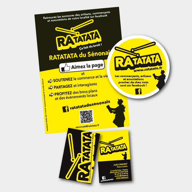 Création Flyer et Carte de visite pour Ratatata © Bienlebonjour.fr